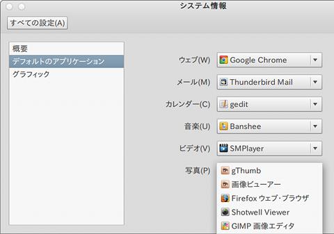 Ubuntu システム情報 デフォルトのアプリケーション