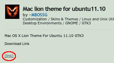 Mac lion theme Ubuntu テーマ ダウンロード