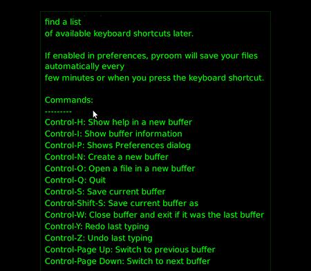 PyRoom Ubuntu フルスクリーン テキストエディタ ショートカットキー