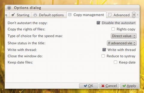 Ultracopier Ubuntu ファイルコピー オプション設定