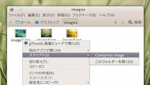 Compress image Ubuntu Nautilus 画像圧縮 JPEG画像の選択