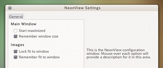 NeonView Ubuntu 画像ビューア オプション設定