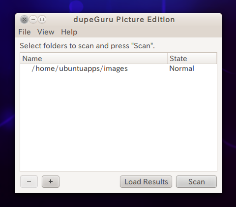 dupeGuru Picture Edition Ubuntu 画像ファイルの重複を探す フォルダの選択