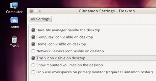 Ubuntu Cinnamon Settings デスクトップアイコンの表示
