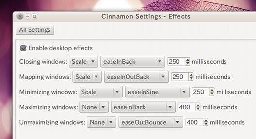 Ubuntu Cinnamon Settings デスクトップ効果の設定