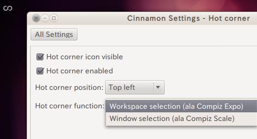 Ubuntu Cinnamon Settings Hot Cornerの設定