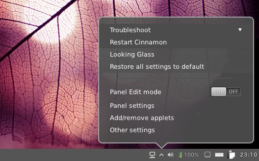 Ubuntu Cinnamon Settings パネルから再起動