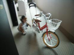 自転車を拭くha~