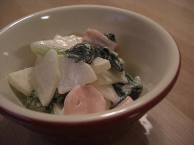 大根と魚肉ソーセージのサラダ