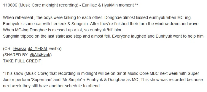 110806 (Music Core midnight recording)