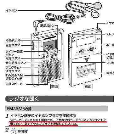 携帯ラジオ参考説明書