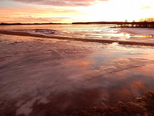氷に映る空
