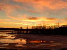 夕陽と湖3