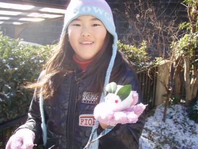 2011-01-16初雪に喜ぶ
