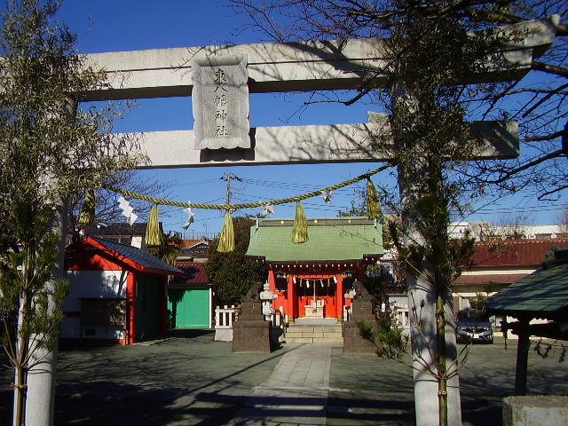 多摩川下流 振り向いたところの神社