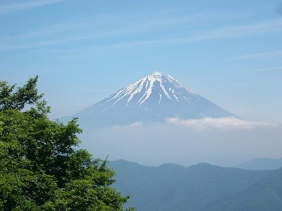 蛾ヶ岳の山頂から富士山
