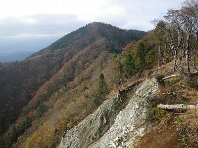 崩壊地から檜岳