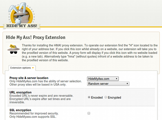 Hide My Ass! Web Proxy Chrome拡張 プロキシの設定