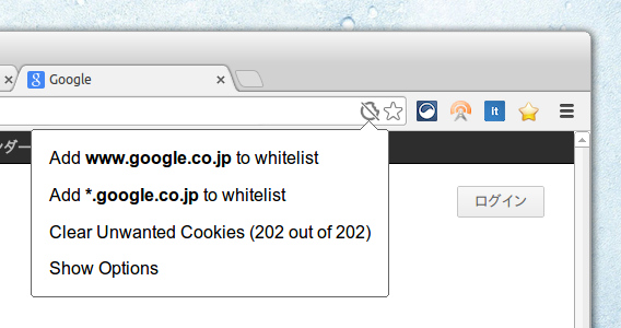 Vanilla Cookie Manager Chrome拡張 Cookieの管理と自動削除