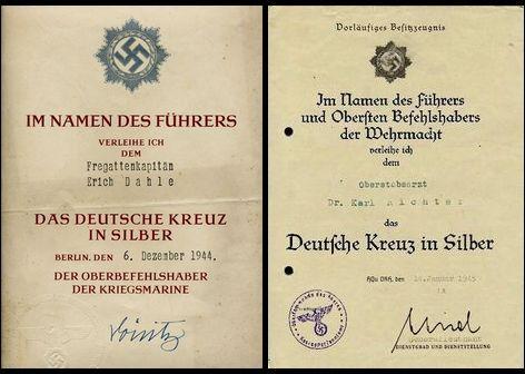 DKiSの正式勲記および仮所有証明書