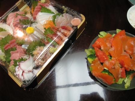 刺身とサラダ