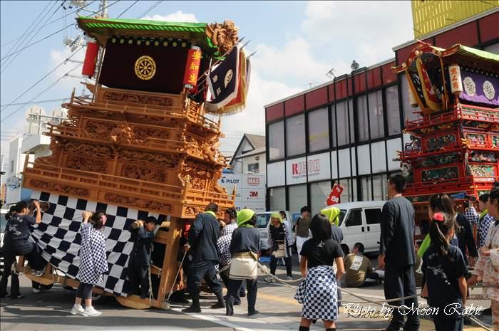 西条祭り2010 安知生だんじり(屋台・楽車) 伊曽乃神社祭礼 西新事務器前にて 2010年10月15日