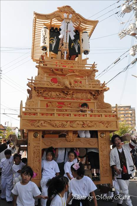 西条祭り2010 西新町だんじり(屋台・楽車) 伊曽乃神社祭礼 西条市総合福祉センター前にて 2010年10月15日