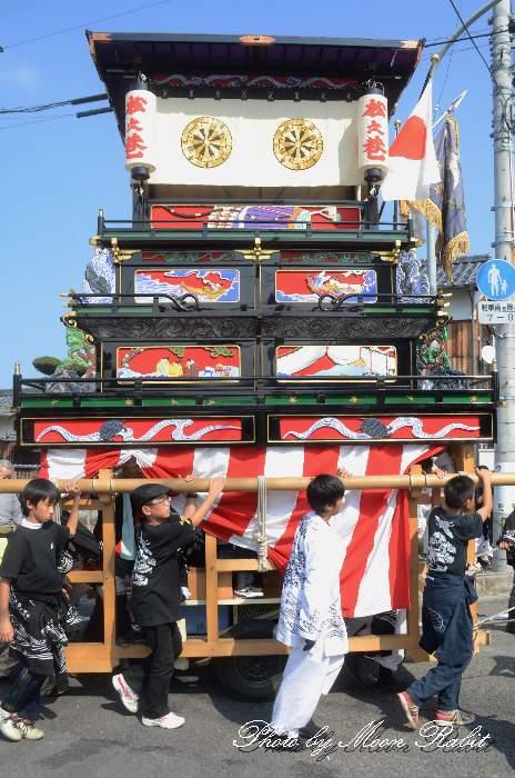 松之巷だんじり(松之巷屋台・楽車) 統一運行 西条祭り2012 伊曽乃神社祭礼 愛媛県西条市神拝