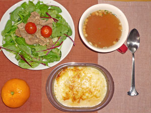 ミラノ風ドリア,オニオンスープ,豚肉のしぐれ煮とベビーリーフのサラダ,ミカン