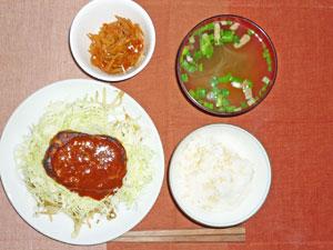 ご飯,もやしとキャベツのハンバーグのせ,きんぴらごぼう,ワカメと長ネギのみそ汁