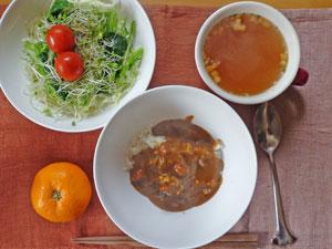 朝カレー,サラダ,オニオンスープ,ミカン