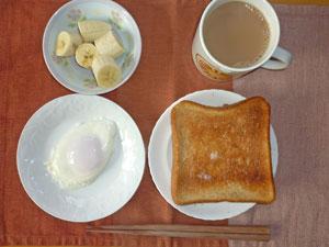 トースト,目玉焼き,バナナ,コーヒー