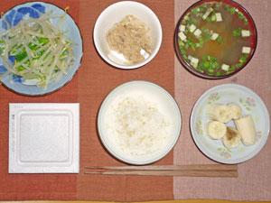 納豆ご飯,温野菜サラダ,ツナ,長ネギのみそ汁,バナナ