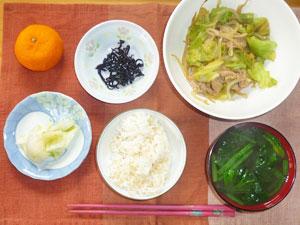 ご飯,肉野菜炒め,ほうれん草のみそ汁,白菜の漬物,ミカン