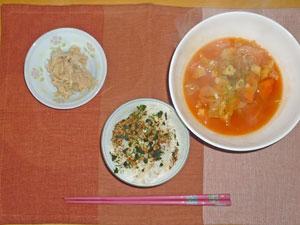 ふりかけご飯,ミネストローネスープ,ツナ