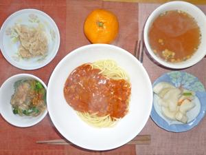 スパゲティミートソース,ほうれん草のおひたし,ツナ,白菜の漬物,オニオンスープ,ミカン