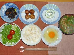 玉子かけご飯,ヒジキの煮物,水菜のサラダ,つくね,ワカメのみそ汁,キウイフルーツ