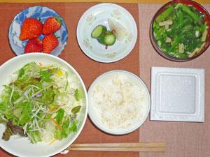 納豆ご飯,サラダ,漬物,みそ汁,イチゴ