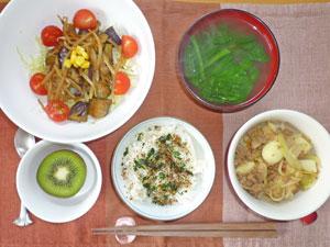 ふりかけご飯,茄子ともやしの蒸しサラダ,ジャガイモとひき肉の炒め物,ほうれん草のみそ汁,キウイフルーツ