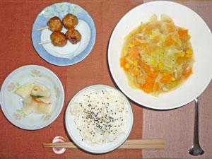 ゴマ塩ご飯,肉団子,キャベツのスープ,大根の漬物