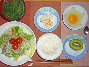 玉子かけご飯,サラダ,ほうれん草のみそ汁,大根の漬物,キウイフルーツ