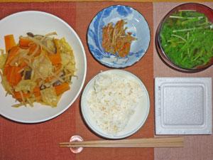 納豆ご飯,野菜炒め,キンピラゴボウ,水菜のみそ汁