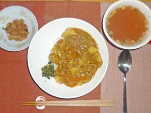 カレーライス,切干大根の煮物,オニオンスープ