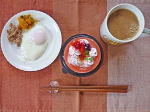 スイートストロベリー,目玉焼き,カボチャの煮物,そぼろひき肉