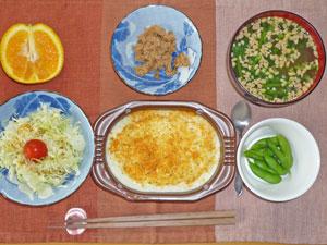 ラザニア,プチサラダ,ツナ,納豆汁,オレンジ