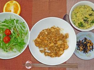 麻婆豆腐丼,ひじきの煮豆,サラダ,玉子スープ,オレンジ