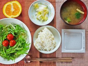 納豆ご飯,サラダ,白菜の漬物,ブロッコリーのみそ汁,オレンジ