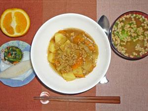 カレーライス,納豆汁,笹かまぼこ,ほうれん草の煮物,オレンジ