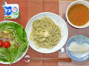 スパゲティバジルソース,サラダ,笹かまぼこ,トマトスープ,ヨーグルト