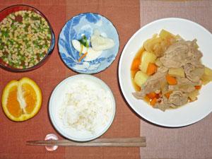 ご飯,肉じゃが,大根の漬物,納豆汁,オレンジ